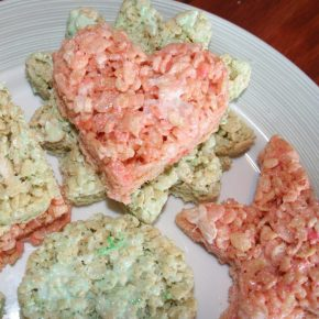 Rice Krispy Treats shaped like hearts and stars