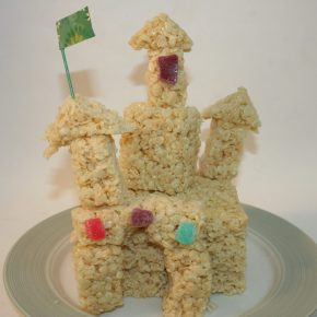 A Rice Krispy treat castle
