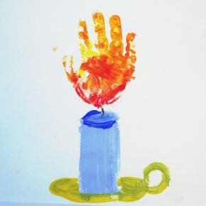 A handprint candle