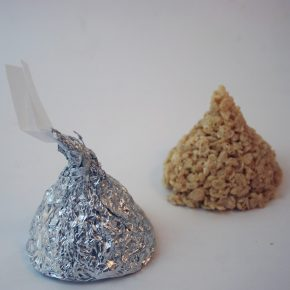 Rice Krispy Treats shaped like giant Kisses