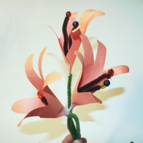 Lilies made from paper handprints